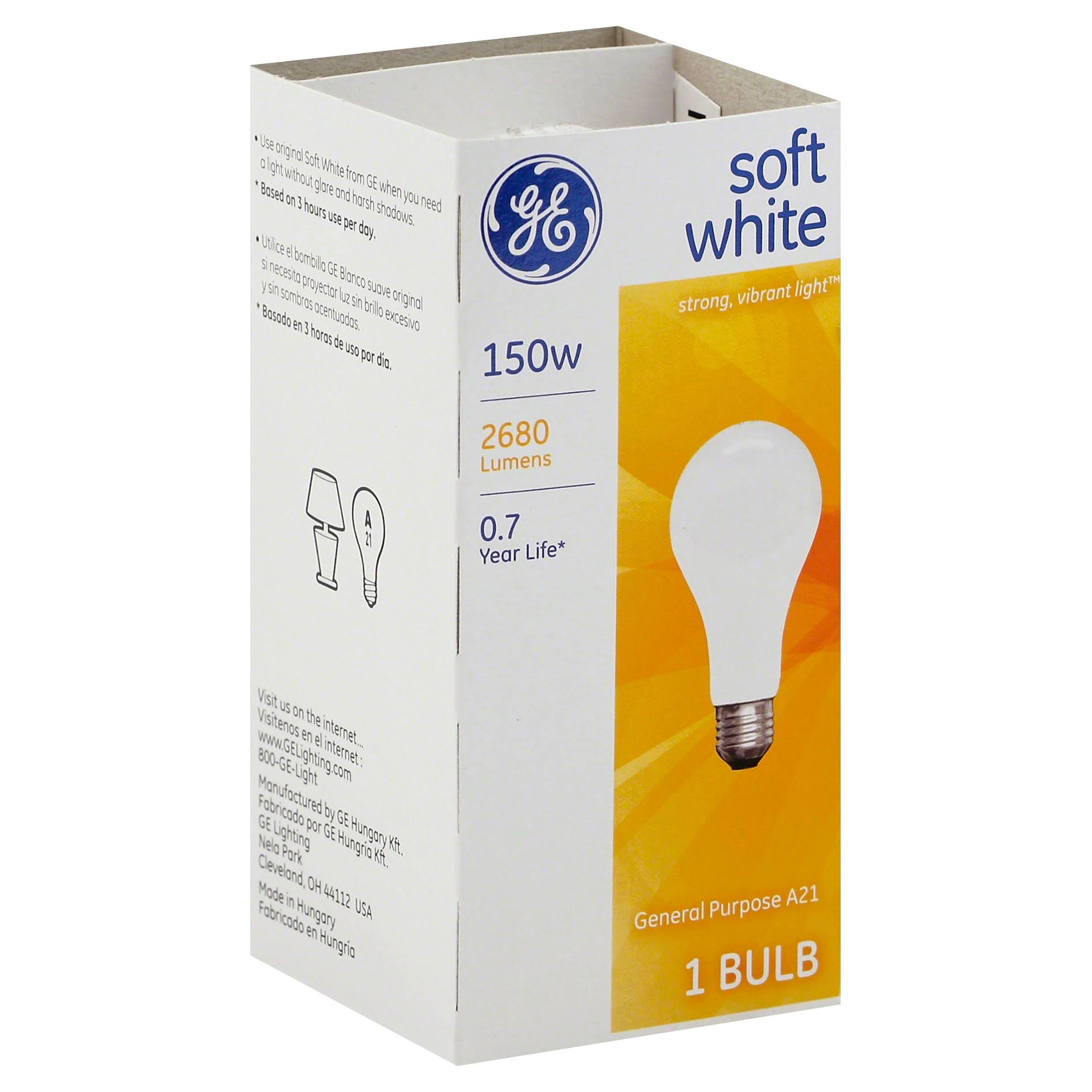 GE Incandescent Light Bulb - 150W, Soft White