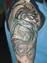 Unique Black Tribal Dragon Tattoo On Man Right Half Sleeve