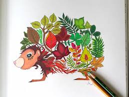 Coloring Book Enchanted Forest Hedgehog Colored Page From The
