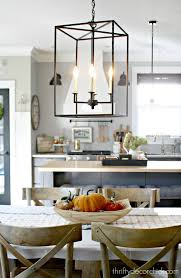 my pretty new light fixture in the kitchen from thrifty decor