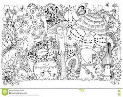 Vector Illustration Zen Tangle Of Mushrooms In The Forest Cartoon