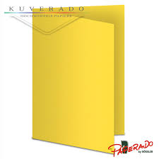 Paperado Karten In Soleilgelb Gerippt DIN A6 220gqm KUVERADO