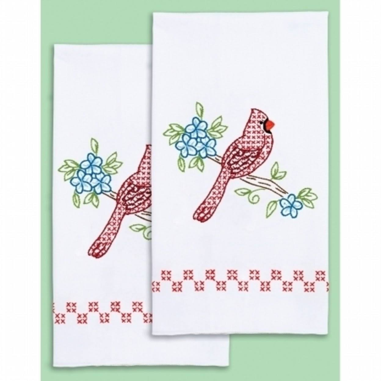 Jack Dempsey Stamped Decorative Hand Towel Pair 17 inch X28 inch -Cardinal