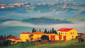 Desktop Photo Golden Village Tuscany Landscape Val Dorcia Toscana Scenery Sunset Fields Gills Fog Gold Image Gallery