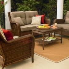 Rustic Style Outdoor Living Space With Ty Pennington Mayfield 4 Piece Deep Seating Set