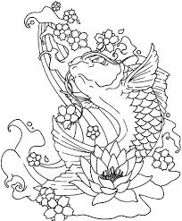 Koi Fish Jumping Out Of Water Coloring Pages