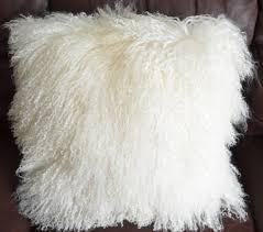 Mongolian Sheepskin Fur pillow Cover only 24x24 Extra