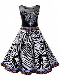 Outfit Plus Size Zebra Stripe 50s Swing Dress