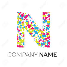 Letter N Splash Logo Golden Dots And Bubbles Letter Design On Black