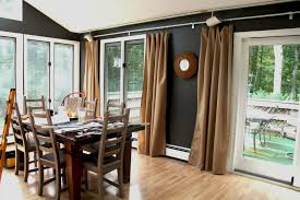 Dining RoomCharming Brown Fabric Sliding Room Curtains For Glass Door And Enchanting Images