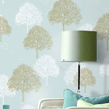 10m roll modern simple trees forests on light blue wallpaper
