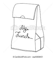 My Lunch Food Bag Lunch Bag Lunchbox Vector Line Art Object My