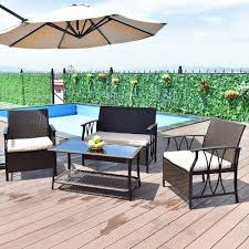 US $196.99 |Giantex 4 PC Garden Furniture Set Outdoor Patio Sectional PE  Wicker Rattan Deck Table Sofa Chairs Set With Cushions HW55431 On ... Supagarden Csc100 Swivel Rattan Outdoor Chair China Pe Fniture Tea Table Set 34piece Garden Chairs Modway Aura Patio Armchair Eei2918 Homeflair Penny Brown 2 Seater Sofa Table Set 449 Us 8990 Modern White 6 Piece Suite Beach Wicker Hfc001in Malibu Classic Ding And 4 Stacking Bistro Grey Noble House Jaxson Stackable With Silver Cushion 4pack 3piece Cushions Nimmons 8 Seater In Mixed