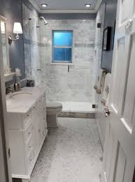 small bathroom flooring ideas with small white brick wall and