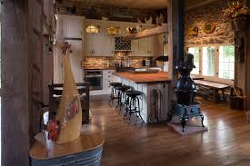Country Home Kitchen Farmhouse With Stove Fireplace Stone Wall Wood Floors