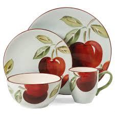 Apple Kitchen Decor Ideas by Gibson Home Fruitful Harvest Apples 16 Piece Dinnerware Set White