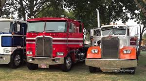 Classic Peterbilt, Kenworth & Mack Trucks Leaving Brooks Truck Show ...