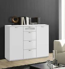 details zu kommode anrichte sideboard wohnzimmer 120cm weiß matt weißglas modern 55158085