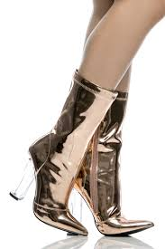rose gold faux leather chunky translucent heels cicihot boots
