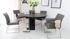 Comfortable Real Leather Dining Chairs And Black Table