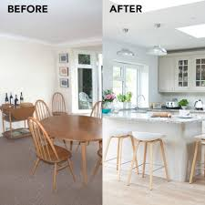 Before And After Merging Two Rooms Has Created A Super Sociable Kitchen