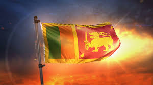 Sri Lanka Flag Backlit At Beautiful Sunrise Loop Slow Motion 4K Background