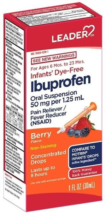 Leader Infant Ibuprofen Dye Free Berry Drops, 1oz 096295132052J643