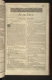 The First Page Of As You Like It From Folio Shakespeares Plays Published In 1623