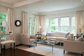 Chic Living Room With White Sofas And Chairscoffered Ceiling Black Mirror Coffee Table Rug Bench Crystal Lamps Ivory Silk Drapes