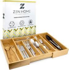zen home besteckkasten größenverstellbarer schubladeneinsatz küchenhelfer aus bambus material 4x noppen am schubladen ordnungssystem um