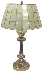 Punched Tin Lamp Shades Uk by Brass Table Lamp With Capiz Shell Shade Chairish