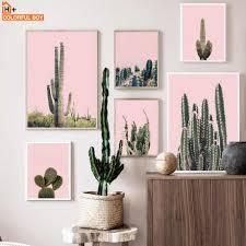 rosa grün kaktus wand kunst leinwand malerei wüste anlage