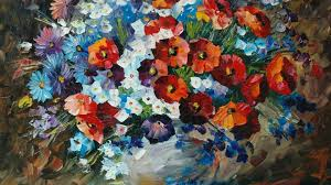 Afremov Painting Paintings Leonid Flowers Awesome Nature Desktop Wallpaper