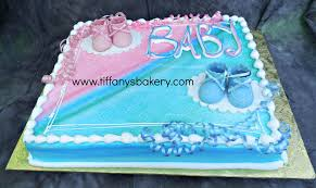 Pink and Blue Booties Sheet Cake – Tiffany s Bakery