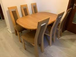 esstisch tisch erle massiv und 6 stühle top preis in