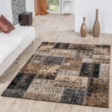 moderner teppich patchwork beige braun