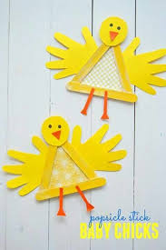 Creating Some One Of A Kind Crafts With Your Child And Easter Right Around The Corner This Popsicle Stick Baby Chick Kid Craft Is Sure To Be Crowd