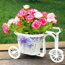 Plastic White Bicycle With Flower Basket Rustic Wedding Decoration