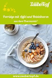 porridge mit apfel und heidelbeeren