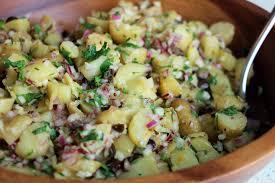 Fingerling Potato Salad With Black Olives Orange Mustard Vinaigrette And Chopped Fennel