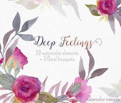 Floral Clipart Watercolor Wedding Flower Clip Art Digital Hand Painted Diy Card Bouquet Invitation