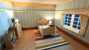 model cartoon bedroom scene