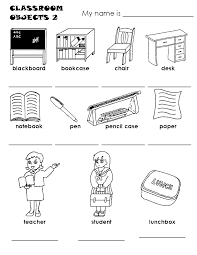 Coloring Download Classroom Objects Pages