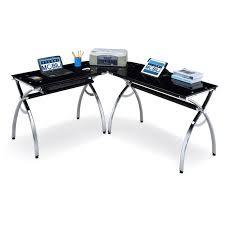 Techni Mobili Computer Desk With Side Cabinet by Techni Mobili L Shaped Glass Computer Desk Black Chrome