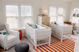 Twins Baby Nusery With Modern Cribs In White