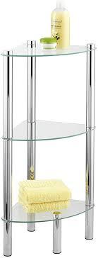 wenko eckregal yago mit 3 glasablagen badregal stahl 30 x 74 x 30 cm chrom