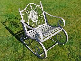 Metal Garden Rocking Chair Antique Grey
