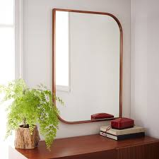 Metal Framed Asymmetrical Wall Mirror Rose Gold West Elm With Prepare