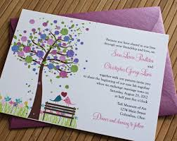 Wedding Invitation Ideas Lovely Purple Rustic Invitations Combined With Attractive Tree Painting Decoration And Colorful Leaves On Brown Stem