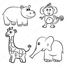 Colección De Animales De Zoo Contorneado Lindo Ilustración De